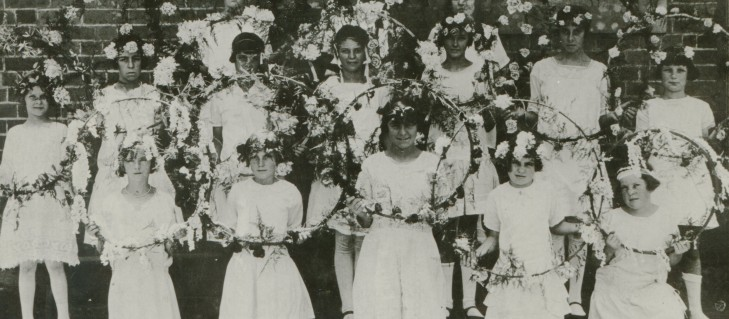 North Ryde PS 1926 Hoop dance girls with their floral hoops