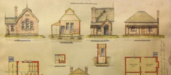 Original plans of North Ryde PS showing a single schoolroom and four room headmaster's cottage