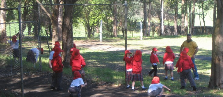 Visiting students can play in designated areas of the North Ryde school's grassy playground under supervision of their class teachers