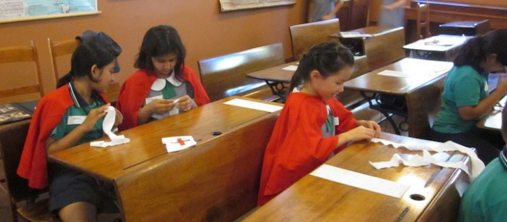 Rolling bandages - At School At War