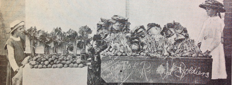 School children with produce to sell for the returned soldiers 1917