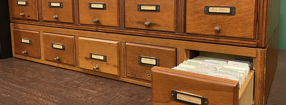 School Library Wooden cabinet used to house an index card for each book.
